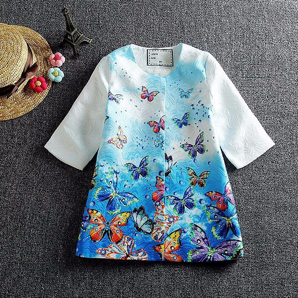 Retail Girls Dress 2016 Children Clothing Winter Girls Clothes Vestidos Butterfly Printed Kids Dresses for Girls (Dress+Coat)