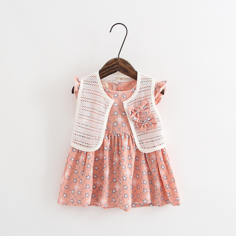 2017 Summer Infant Baby Girls Dresses Sweet Princess Party Dress+Small Shawl Cotton Ball Gown Sleeveless Baby Girl Dresses Ds222