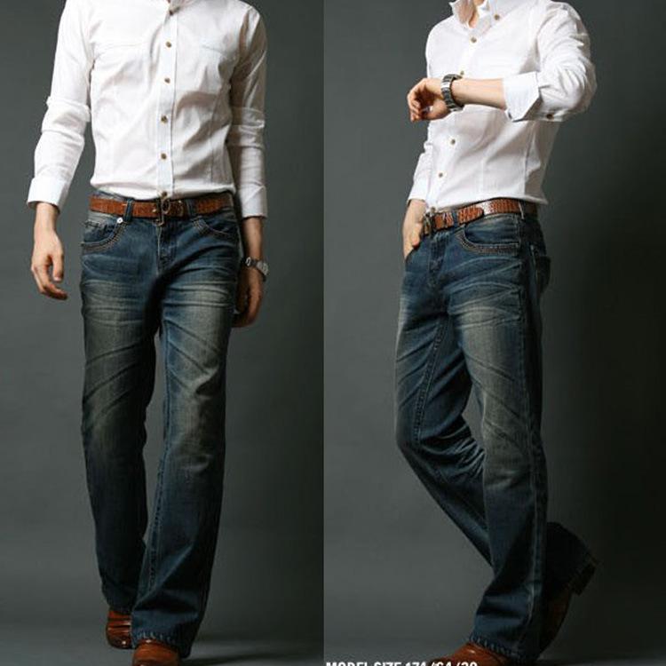 2016 Mens Flared Jeans Boot Cut Leg Flared Elastic Slim Fit Mid Waist Male Designer Classic Denim Jeans Bell Bottom JeansMB16240