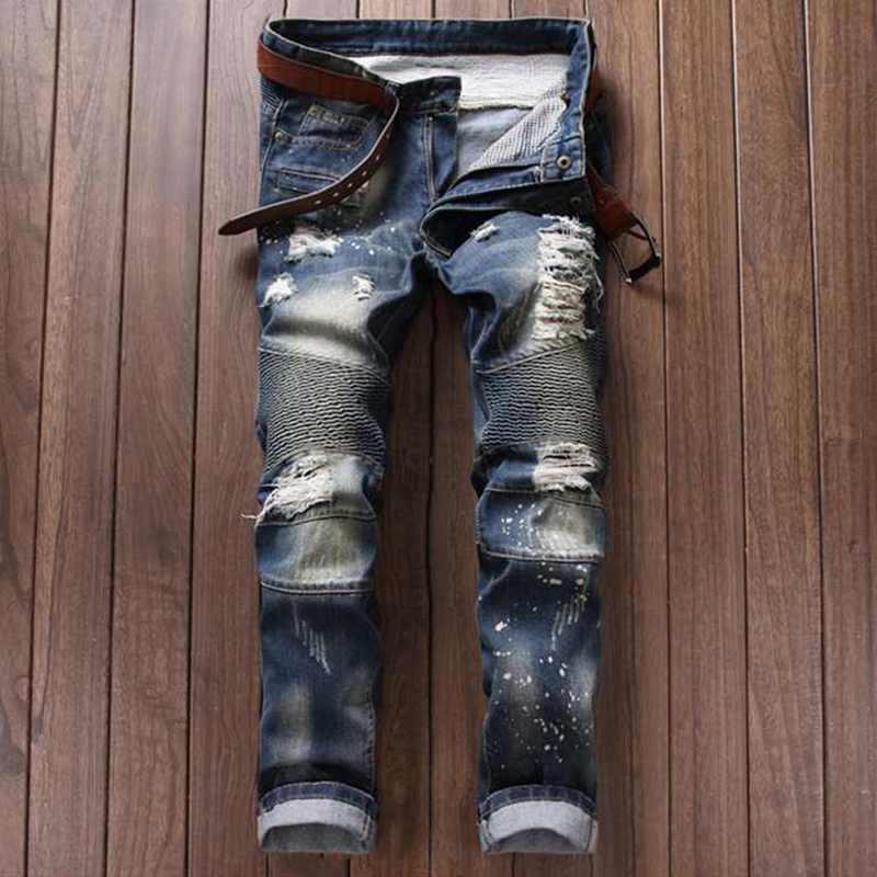 New Luxury Brand Mens Skinny Jeans Men Runway Distressed Slim Elastic JeansDenim Biker Jeans Hip Hop Pants Washed Pleated Jeans