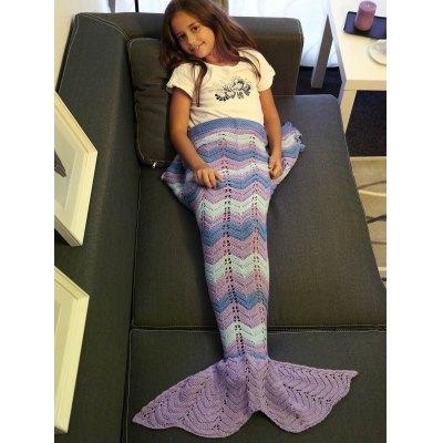 Comfortable Knitting Openwork Color Block Mermaid Blanket