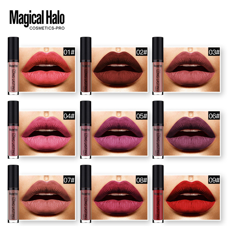 Magical Halo 38colors/set Brand Nude Waterproof Liquid Matte Lipstick kit Non-stick Colors Lipstick Lip Gloss Paint Lipstick Set