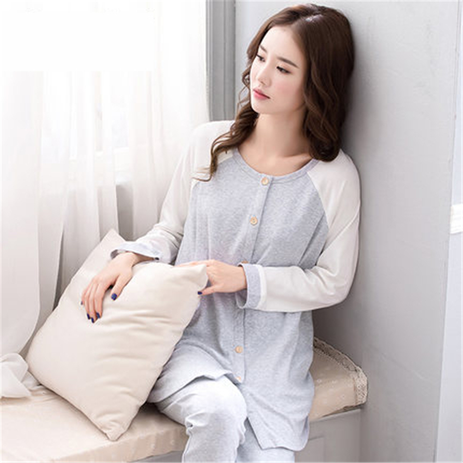 Maternity Nursing Pajamas For Pregnant Women Long Sleeve Home Suit Pajamas Fashion Elegant Cotton Casual Clothes 70M0178