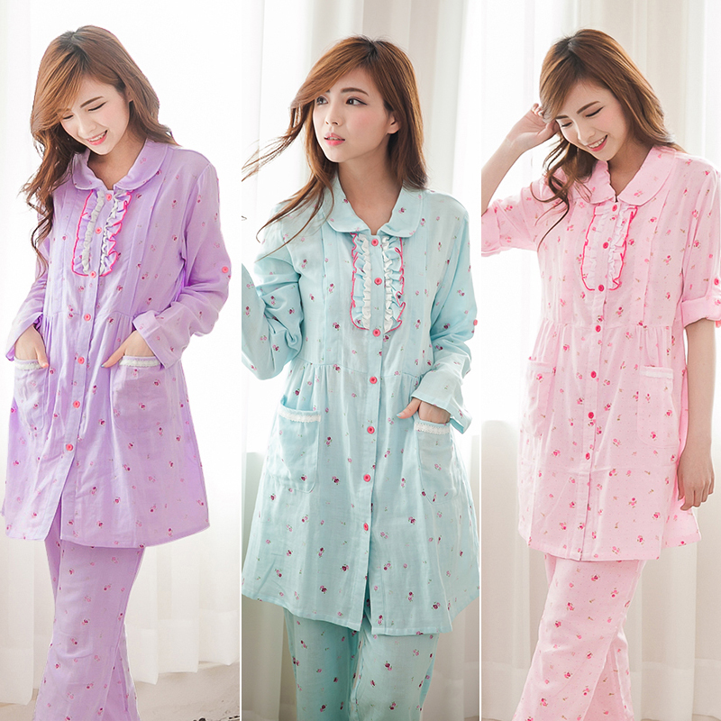 Materinty nursing pajamas Long Sleeve plaid pajamas set pregnant sleepwear for  Women BreastFeeding Nightgown hot selling