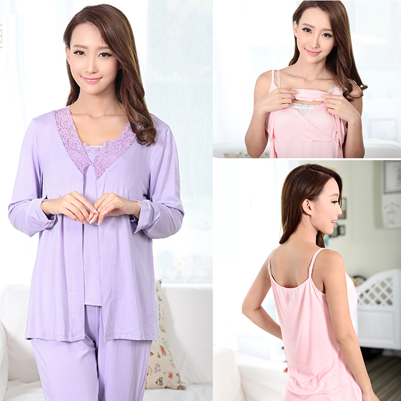 MamaLove Fashion Maternity Clothes Maternity Sleepwear Breastfeeding Sleepwear Nursing Pajamas for Pregnant Women 3pcs/Set