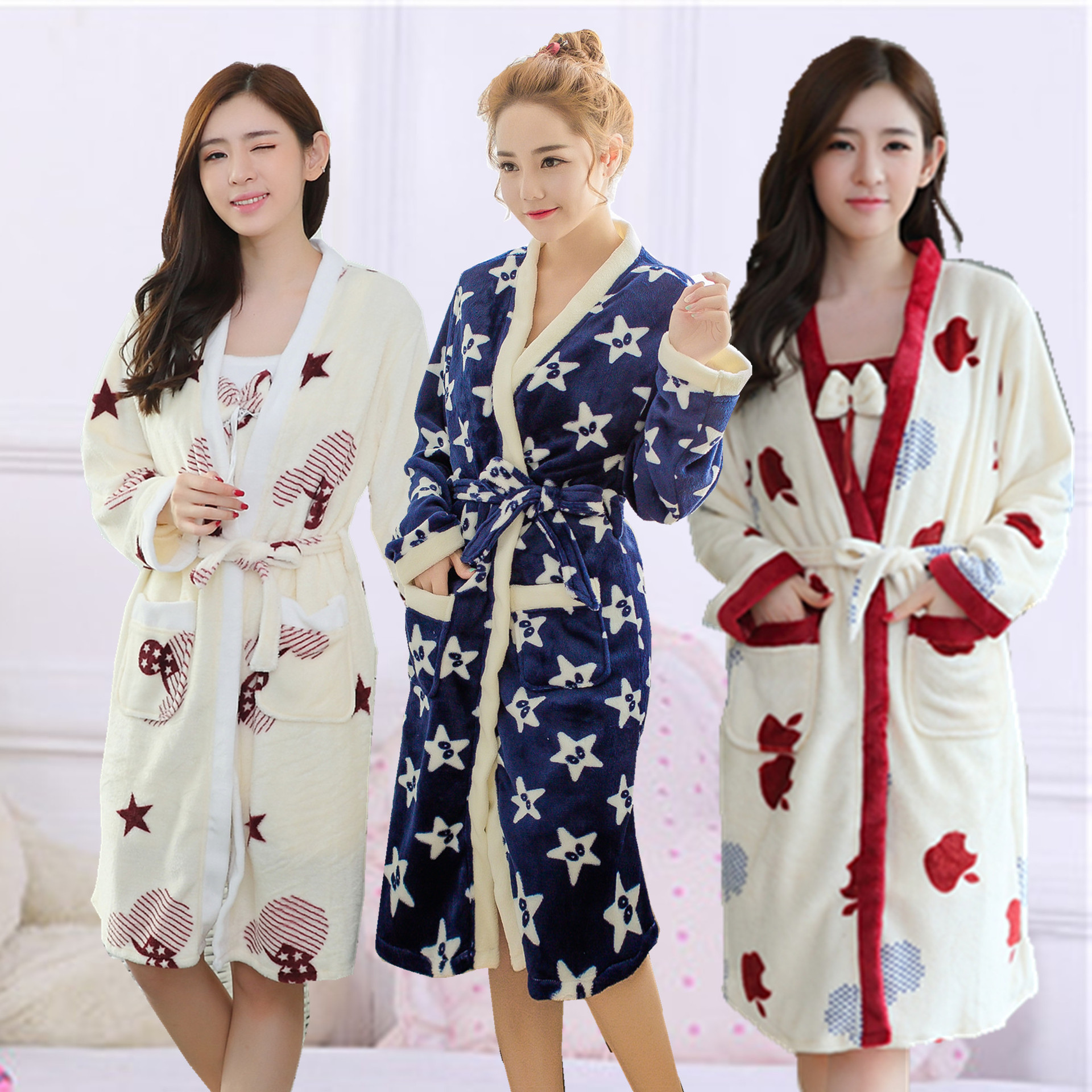 New autum/winter women's sleepwear flannel nightgown home wear maternity sleepwear and tanks pregnancy nightwear pajamas 16906