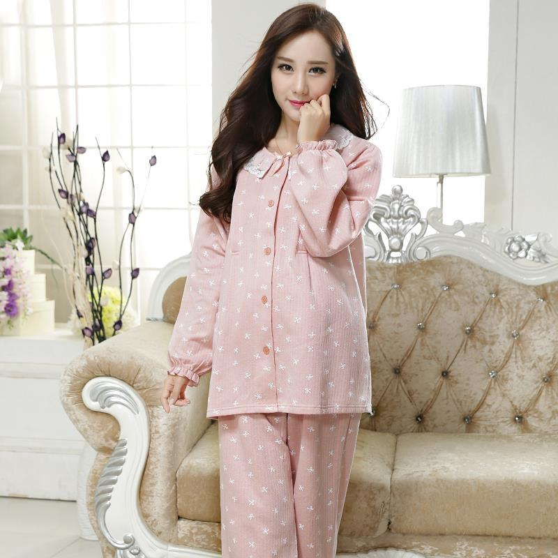 2017 summer pregnant lady long sleeved cotton nursing pajamas postpartum month of breastfeeding buru yi night lounge wear