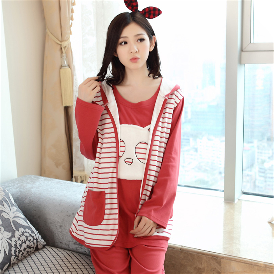 Breastfeeding Maternity Pajamas Nursing Winter Clothes For Pregnant Quality 3 Pcs Warm Cotton Nightwear 50M0003